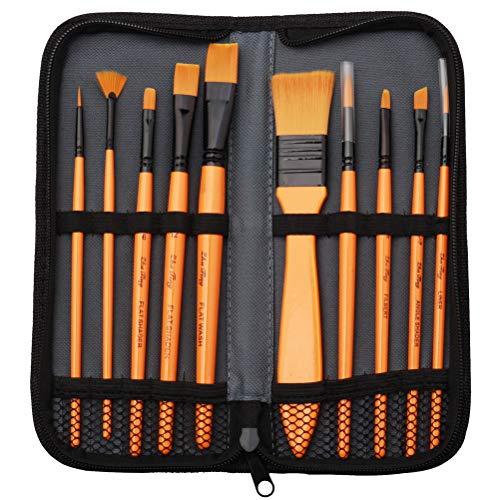 nuoshen Acrylic Paint Brush Set - 10 Brushes in Wallet ,Ideal Paint Brush...