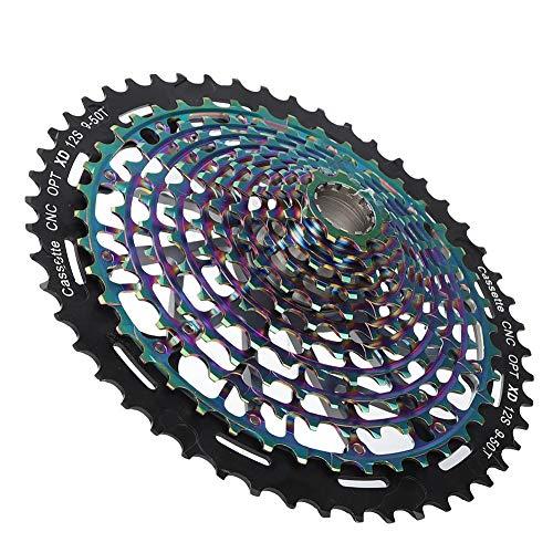 Demeras Mountainbike-Kette Rad Kettenblatt Fahrrad Schaltwerk Riemenscheibe Hochwertige Fahrradzahnscheibe Langlebig für Fahrrad Ersatzstollen für Mountainbike(12 Speed 9-50T)