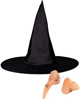 3 in 1 Halloween Costume Witch Hat with Fake Nose Chin Set, Black Witches Hats Cosplay Party Fancy Dress Up Yard Decorations for Girls Women Kids Party Favors Accessories