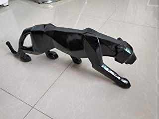 Modern Abstract Black Panther Sculpture Geometric Resin Leopard Statue Wildlife Decor Gift Craft Ornament