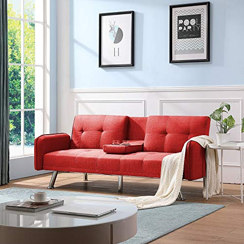 Futon Couch Bed, Sleeper Sofa Best Choice Products Modern Linen Convertible Futon Sofa Bed w/Metal Legs, 2 Cupholders - Red