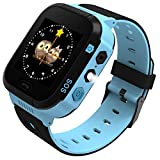 Enow Kids Smart Watch, LBS Tracker for Boys Girls with SOS Call Camera Flashlight Alarm Activity 1.44'' Touch Screen SIM Card Slot Electronic Smartwatch for Android/iOS (Blue)