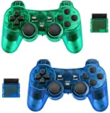 BicycleStore 2 Pack Wireless Controller for PS2 Playstation 2.4G Gamepad Joystick Remote with Dual Shock Vibration Sensitive Control Wirelless Receivers (ClearBlue and ClearGreen)