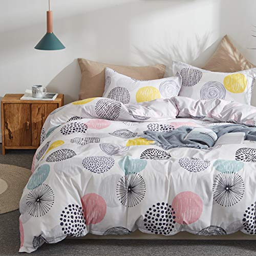 Uozzi Bedding 3 Piece Duvet Cover Set Queen (1 Duvet Cover + 2 Pillow Shams) with Colorful Dots, 800 - TC Comforter Cover with Zipper Closure, 4 Corner Ties - Pink Gray Yellow Circles for Adult/Kids