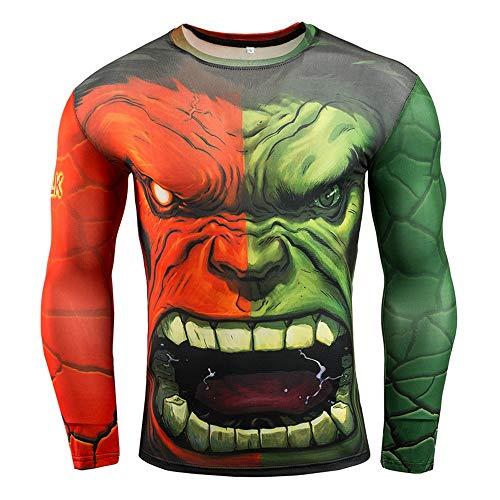 HOOLAZA Avengers Super Heroes Herren Langarm Kompressions T Shirt Herren Joggen Motion Shirt, Hulk, M