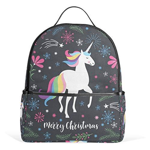 Winter Merry Christmas Casual Student Backpack, Unicorn Rainbow Floral Durable Unisex School Bag Bookbag Daypack Back Bag Shoulder Bag for School Travel