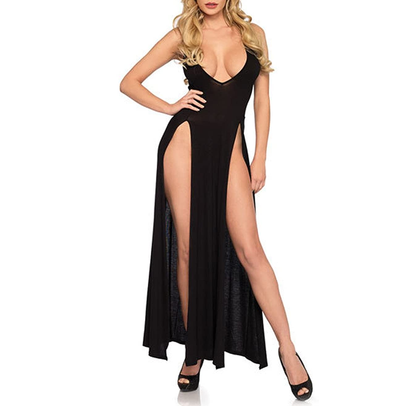 Letdown Women Sexy Plus Size Long Skirt Solid Lingerie Underwear Nightdress Pajamas