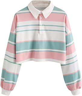 Women Crop Tops, Casual Long Sleeve Striped T Shirt Drop Shoulder Fashion Collared Pullover Blouse