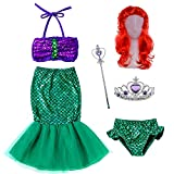 The Little Girls Mermaid Princess Swimwear Dress Costume Wig Tiara Wand(5T-6T) Green-Purple