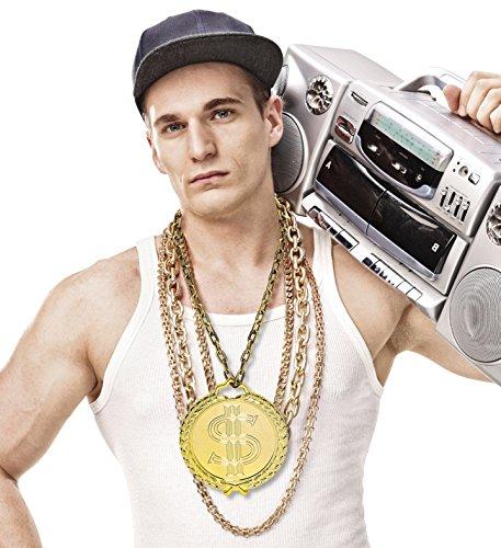 Panelize Hip Hop Rapper-Schmuck 90er Jahre Kette mit riesigem Amulett Prollschmuck Macho