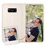 Coque personnalisée en Cuir Blanc - Coque Portefeuille pour Samsung Galaxy S8 Plus - Coque...