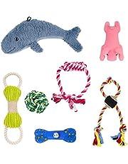 DZL- Juguetes para Perros 7 Piezas de Juguetes duraderos para Perros para Cachorros/Perros pequeños Mordedor Juegos Cuerdas Juguete complementos Aleatorio