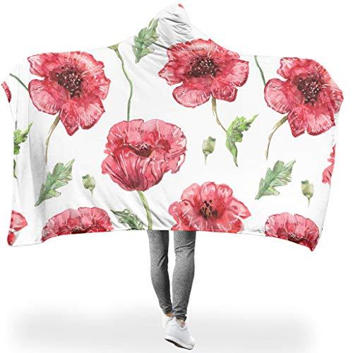 Ainiteey Beautiful Flowers lichte deken met capuchon, zorgvuldige afwerking, voor op reis in een koude omgeving, familiestijl, bloem