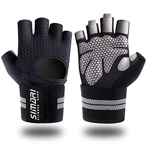 SIMARI Workout Gloves Men Women Full Finger Weight Lifting Gloves with Wrist Support for Gym Exercise Fitness Training Lifts Made of Microfiber and...