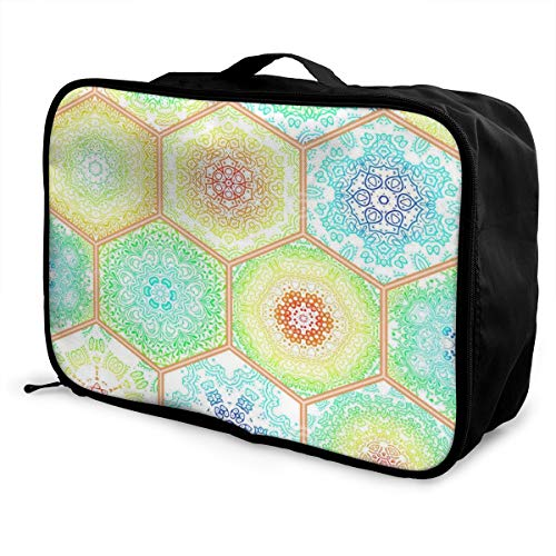 Travel Bag Colorful Bohemian Portable Foldable Tote Handbag Bags Vintage Trolley Handle Luggage Bag American Classic Club Duffel
