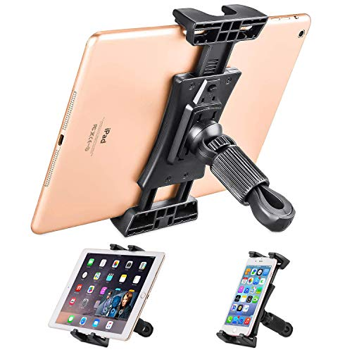 NUOMIC Exercise Bike Tablet Holder, Portable Ipad Holder for Treadmill/Car Headrest/Microphone Stand, 360° Adjustable Tablet Mount for IPad Series and Tablet&4.7-12.9Inch
