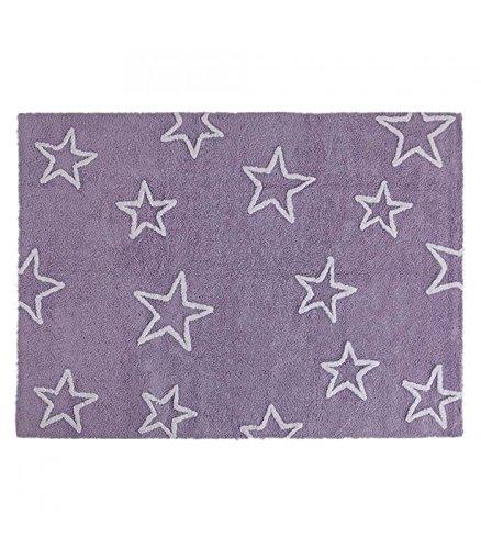 Happy Decor Kids -Waschbarer Teppich Stars 100% Natürliche Baumwolle -Mauve- 160x120 cm
