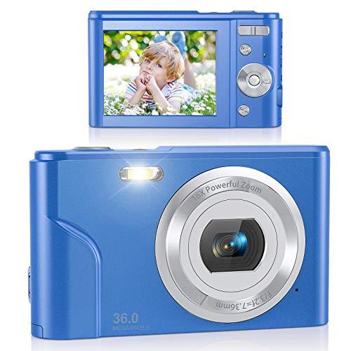Digital Camera, Lecran FHD 1080P 36.0 Mega Pixels Vlogging Camera with 16X Digital Zoom, LCD Screen, Compact Portable Mini Cameras for Students, Teens, Kids (Blue)