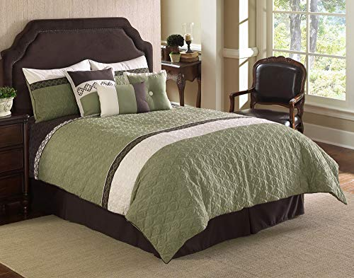Riverbrook Home Fairmont Comforter Set, King, Green/White, 7 Piece