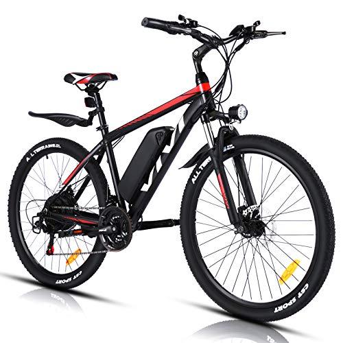 """VIVI Elektrofahrrad Herren 26"""" Mountainbike mit 350W Motor,Abnehmbare 36V/10.4Ah Batterie /21-Gang-Getriebe/Höchstgeschwindigkeit 32km/h/Kilometerstand Aufladen Bis zu 50km (rot, 26 Zoll)"""