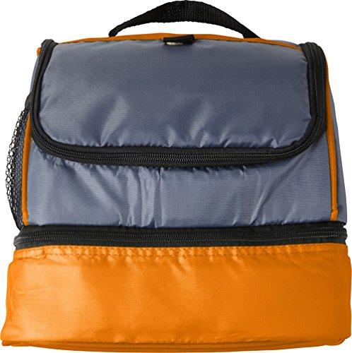 Kühltasche Klein mit Hauptfach und seperates Fach für Kühlakkus Campingtasche 26x18x23 cm Isoliertasche (Orange)