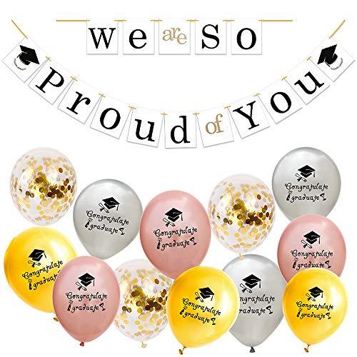 Feelairy Abschluss Deko 2020 - We Are So Proud of You Girlande Abschluss Banner mit 12 Stück Glückwunsch Graduation Luftballons, Party Decoration für Graduierung Abschlussfeier (Roségold Silber Gold)