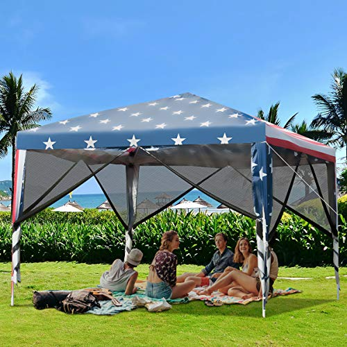 Tangkula Outdoor 10' X 10' Pop-Up Canopy Tent, Party Tent with Removable Mesh Netting Walls, Waterproof Screen House Room Tent with Carry Bag for Camping, Backyard, Wedding, American Flag Printing