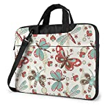 Laptop Messenger Bag Cartoon Dragonfly Lady Bugs Waterproof Notebook Sleeve Protective Bag Laptop Shoulder Bag with Strap,Compatible with MacBook Tablet Ultrabook (13 in,14 in)