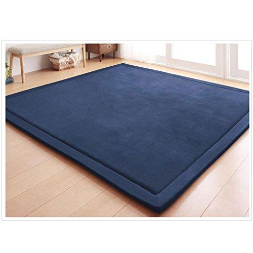 Koraalrode speelmat, kruipmat, tapijt, voor kinderkamer, baby's, peuters, kinderen, yogamat, oefenpads 200 x 250 cm donkerblauw