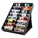 Estuche de exhibicin de 16 ranuras para gafas, organizador de gafas, caja de almacenamiento para gafas, soporte para almacenamiento de gafas, contenedor de joyas, relojes de sol con soporte plegable