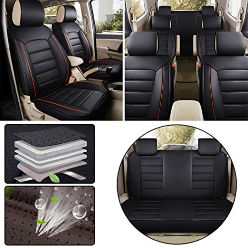 Car Seat Covers for Toyota Seven-Seats Leatherette Car Front and Rear Seat Protector Airbag Compatible Wear-Resistant Waterproof Black