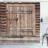 ABAKUHAUS Rústico Cortina de Baño, Madera de Registro de la Puerta Casa, Material Resistente al Agua Durable Estampa Digital, 175 x 200 cm, marrón