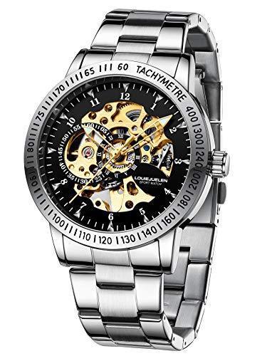 Reloj de Pulsera Acero Inoxidable Mecánico Automático Impermeable para Hombre (Plata/Negro/Blanco/Dorado)