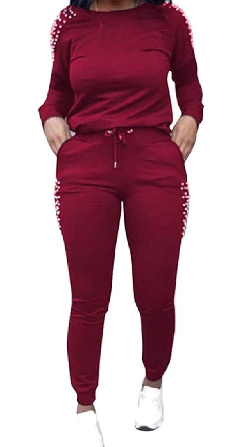 習字肥料訴えるGodeyesW 女性の弾性ウエストカジュアル2ピースポケットドローストリングセット