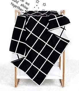 AJSUJIAN Knitted Plaid Baby Blanket(Blue) JUJIANGH (Color : Black)