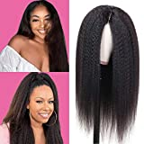 Kinky Straight Human Hair Lace Front Wigs 18inch For Black Women YaKi Straight Human Hair Wigs 150% Density Transparent Lace Front Wigs Pre Plucked Natural Color
