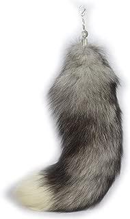 Ursfur New 100% Real Silver-blue Fox Tail Fur Bag Keychain Keyring Hanging Gift