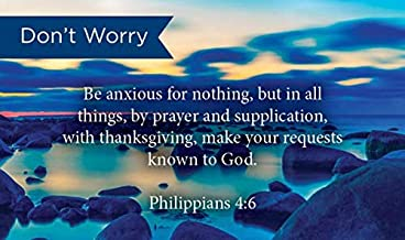 Pass Along Pocket Scripture Cards, Don't Worry or Be Anxious, Philippians 4:6, Pack of 25