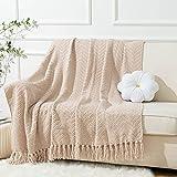 Battilo Boon Knitted Zig-Zag Textured Tweed Throw Couch...