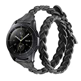 Glebo Correa de piel tejida de 20 mm, compatible con Samsung Galaxy Watch 42 mm/Active 40 mm/Active...