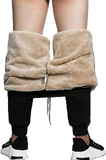 Pantalones Deportivos de Felpa para Hombre, Invierno Cálido Pantalones Deportivos Cintura Alta Slim Fit Pantalones Casual ...