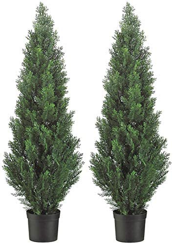 Set of 2 Pre Potted 4 Foot Artificial Cedar Topiary Outdoor Indoor Trees product image