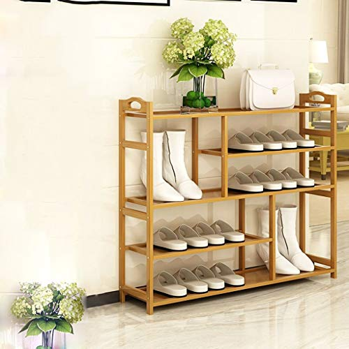 BXU-BG Qaryq - Zapatero de dormitorio de varias capas para uso doméstico, a prueba de polvo, zapatero económico, de madera maciza, 5 capas, zapatero de 100 x 25 x 87 cm