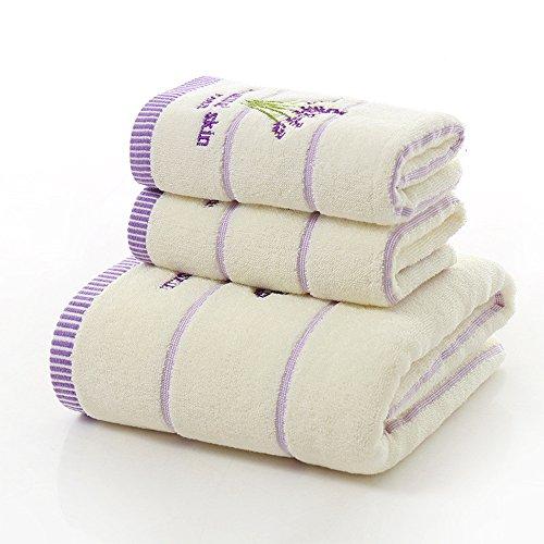 Juego de 3 toallas de baño de algodón con estampado de lavanda para deportes, viajes, 600 g, 2 toallas de 34 x 75 cm, 1 toalla de baño de 70 x 140 cm