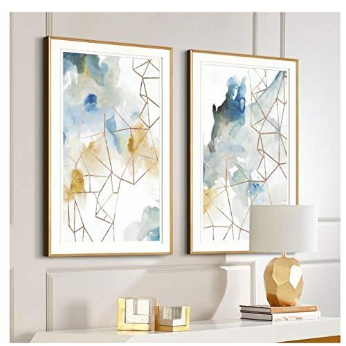 Acuarela abstracta Geométrica Arte de la pared Impresiones Lienzo Pinturas Europa Póster e impresiones Fotos Oficina Sala de estar Decoración para el hogar 50 * 70 cm Sin marco