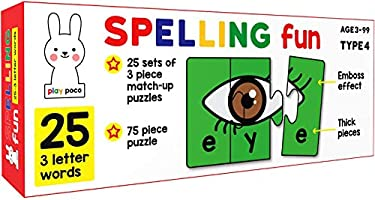 Play Poco Spelling Fun 150 Piece Spelling Puzzle - Learn to Spell 50 Three Letter Words - Beautiful Colorful Pictures