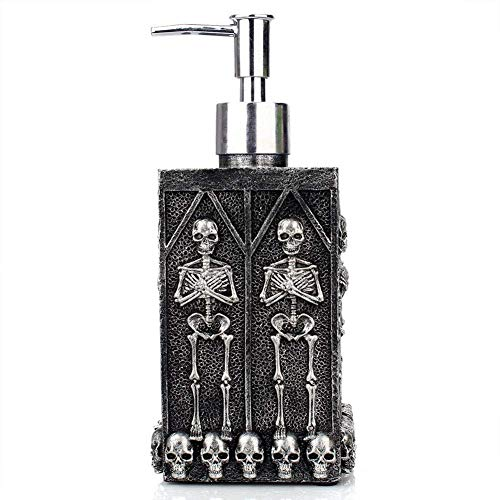 Skull Design Dark Style Refillable Hand Soap Dispenser Liquid Pump for Kitchen Bathroom Home Hotel Office Design by NPL Halloween Gravely Scary Spooky Fantasy