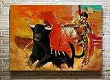 Aaubsk DIY Pintar por números Cuadro de torero y Toro campestre Pintar por nuimeros Lienzo con Pincel y Pintura acrílica40x60cm(Sin Marco)