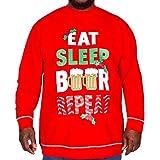 D555 Duke Mens Eat Sleep Beer Christmas King Size Sweatshirt - Red - 4XL