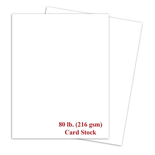 White Thick Paper Cardstock - for Brochure, Invitations, Stationary Printing | 80 lb Card Stock | 8.5 x 11 inch | Heavy Weight Cover Stock (216 gsm) 98 Brightness | 8 1/2 x 11 | 50 Sheets Per Pack